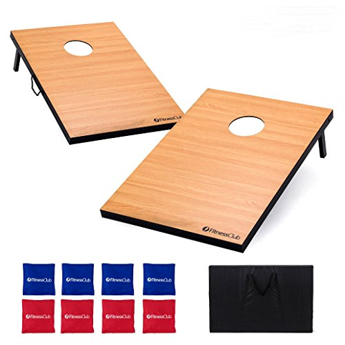 Classic Wooden Cornhole Board Set Bean Bag Toss Game Backyard 8 Bags w/Carry Bag by Unknown