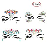 Face Gems Sticker Face Crystals Sticker Women Rhinestone Face Jewelry Mermaid Eyes Body Crystal Tattoo Temporary Rhinestone Gem Face Jewels Tattoo for Forehead Decorations (4 Style)