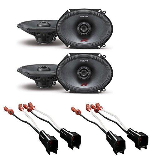 Alpine R-Series 6 x 8 Inch 300 Watt Component 2-Way Car Speakers W/ Metra 72-5600 Ford Speaker Harness 1998-UP (2PAIRS)