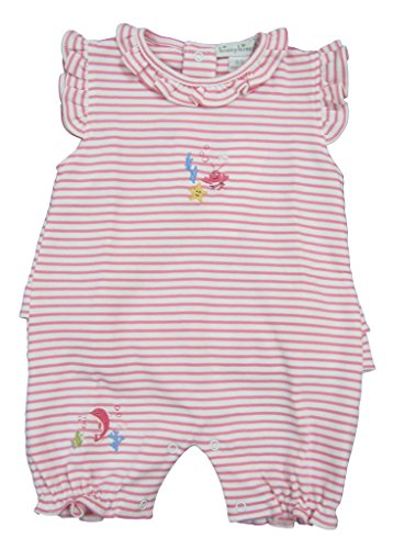 Kissy Kissy Baby-Girls Infant Sea Wonder Stripe Sleeveless Short Playsuit-White With Fuchsia-12-18 Months