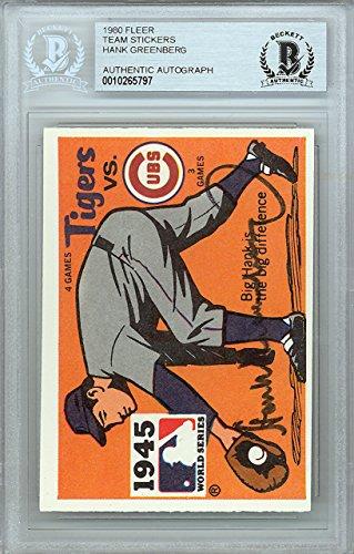 Hank Greenberg Autographed 1980 Fleer Sticker Card Detroit Tigers 1945 World Series Beckett BAS #10265797