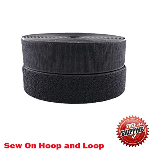 1'' (Inche) Width Black or White Sew on Hook & Loop - Premium Grade Non-adhesive Sew-on Style Sold Includes Hook and Loop Both Strips Interlocking Tape Sold By 5, 10, 27 Yards (Black - 27 yards) by Display Sign Mart