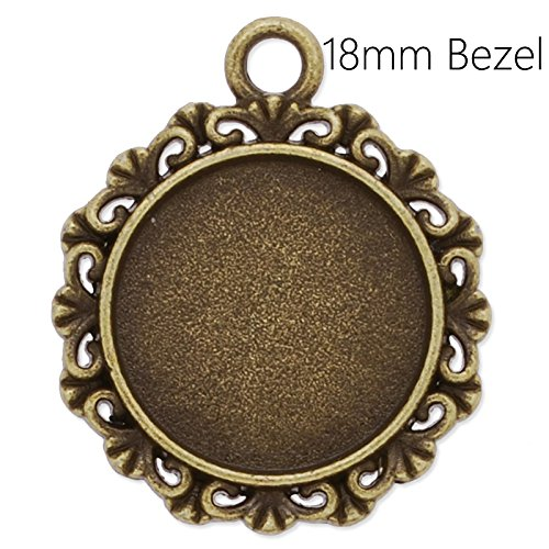 - 18mm Round Cabochon Settings Antique Bronze Plated Pendant Trays with Lace Edge-20pcs