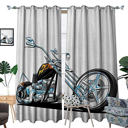 RenteriaDecor Manly Patterned Drape for Glass Door American Chopper Motorcycle Competitions Tough Wild Cool Sport Waterproof Window Curtain W72 x L108 Charcoal Grey White Light Blue