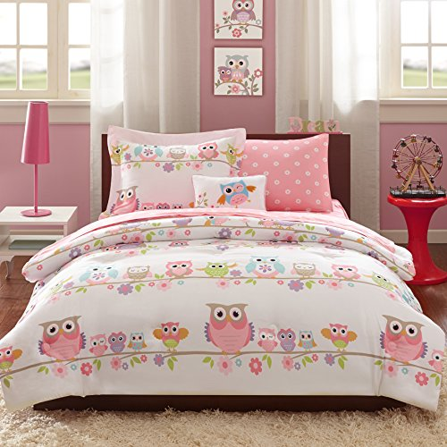 Loraine Kids Colorful Wildlife Owls and Pink Blossoming