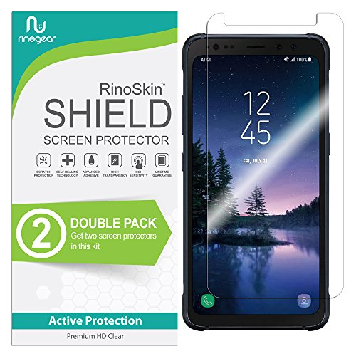 (2-Pack) RinoGear for Samsung Galaxy S8 Active Screen Protector Case Friendly Screen Protector for Samsung Galaxy S8 Active Accessory Full Coverage Clear Film