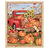 Clearance Sale !! Christmas Panel Quilt,36x44 Snowman Snow Pumpkin Cotton Fabric Panel Red Truck Cardinal Gifts Home Decorative (Multicolor)