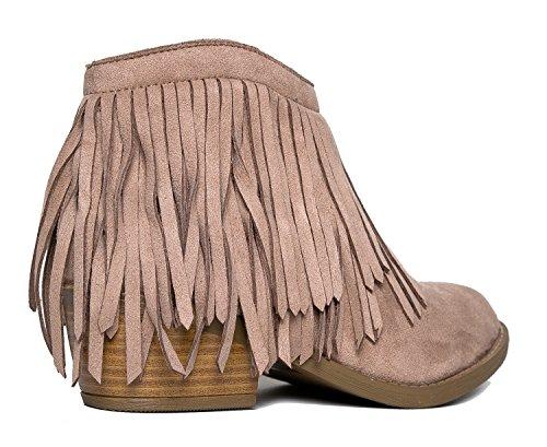 Soda Fringe Ankle Boot - Western Cowgirl geschlossene Toe Bootie - niedrige Ferse beiläufige bequeme Cowboy-gehende Stiefel Lt Taupe Wildleder *