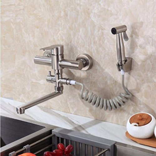 Single-Handle Kitchen Mixer Sink Tap Kitchen Faucet In-wall kitchen 304 stainless steel hot and cold water faucet multi-function pull spray gun sink laundry pool sink, E