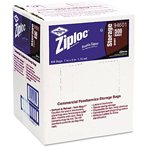 Ziploc Double Pinch & Seal Zipper Storage Bags, Quart, 500 Ct - 1 Box