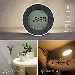 Stylish Bedside Lamp, Night Light, And Alarm Clock With Dual Alarm (White)