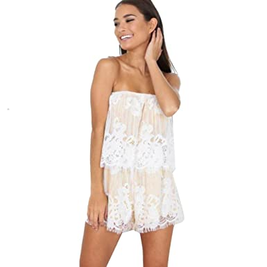 ea875a6e4c7a Womens Off Shoulder Jumpsuits,Kingwo Ladies Summer Sleeveless Beach Lace  Jumpsuits Romper Holiday Short Mini Party Playsuit Backless Dress:  Amazon.co.uk: ...