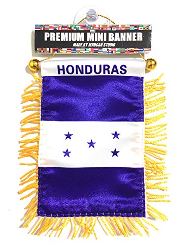 Honduras Flags for car Interior Rearview Mirror or Home Sticks to Windows Glass Quick and Easy Quality Small Hanging Mini Banner Flags car Accessories (1 Flag