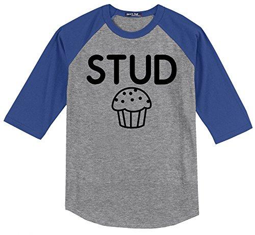 Stud Muffin Tee - Comical Shirt Men's Stud Muffin Funny Tee Cute Boyfriend Gift Tee Heather Grey/Royal XL