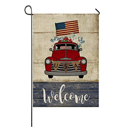 Auomily Patriotic Truck Garden Flag Vertical Double Sided Welcome Farmhouse Vintage Red Truck with Flowers Burlap Garden Yard Banner Lawn Outdoor Decoration 12.5 x 18 Inch (USA Flag Truck)