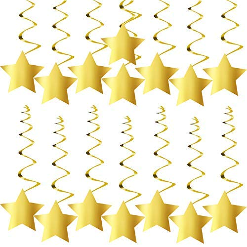 KatchOn Gold Star Hanging Swirls - No DIY Required | Graduation Decorations Party Supplies | Twinkle Twinkle Little Star Decorations | Gold Party Supplies | Baby Shower -