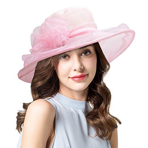 - Lawliet Womens Kentucky Derby Sun Hat Wide Brim Wedding Church Racing A002 (Pink)