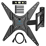 PERLESMITH TV Wall Mount for 26'-55' TVs with Swivel & Extends 18.5'- Wall Mount TV Bracket VESA 400x400 Fits LED, LCD, OLED Flat Screen TVs Up to 88 lbs - with HDMI Cable, Bubble Level & Cable Ties