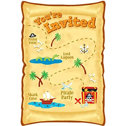 amazon com pirate party invitations package of 8 invitations