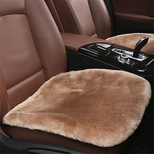 Silence Shopping 1Piece Sheepskin Seat Pad -Universal Fit - Leather and Patented Non Slip Backing for Comfort in Car, Plane, Office, or Home (Light Tan) (Seat Leather Faux Pads)