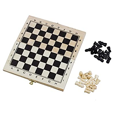 SODIAL(R) Foldable Wooden Chessboard Travel Chess Set with Lock and Hinges--Ivory and Black Chess Pieces