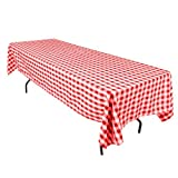 LinenTablecloth 60 x 126-Inch Rectangular Polyester Tablecloth Red & White Checker