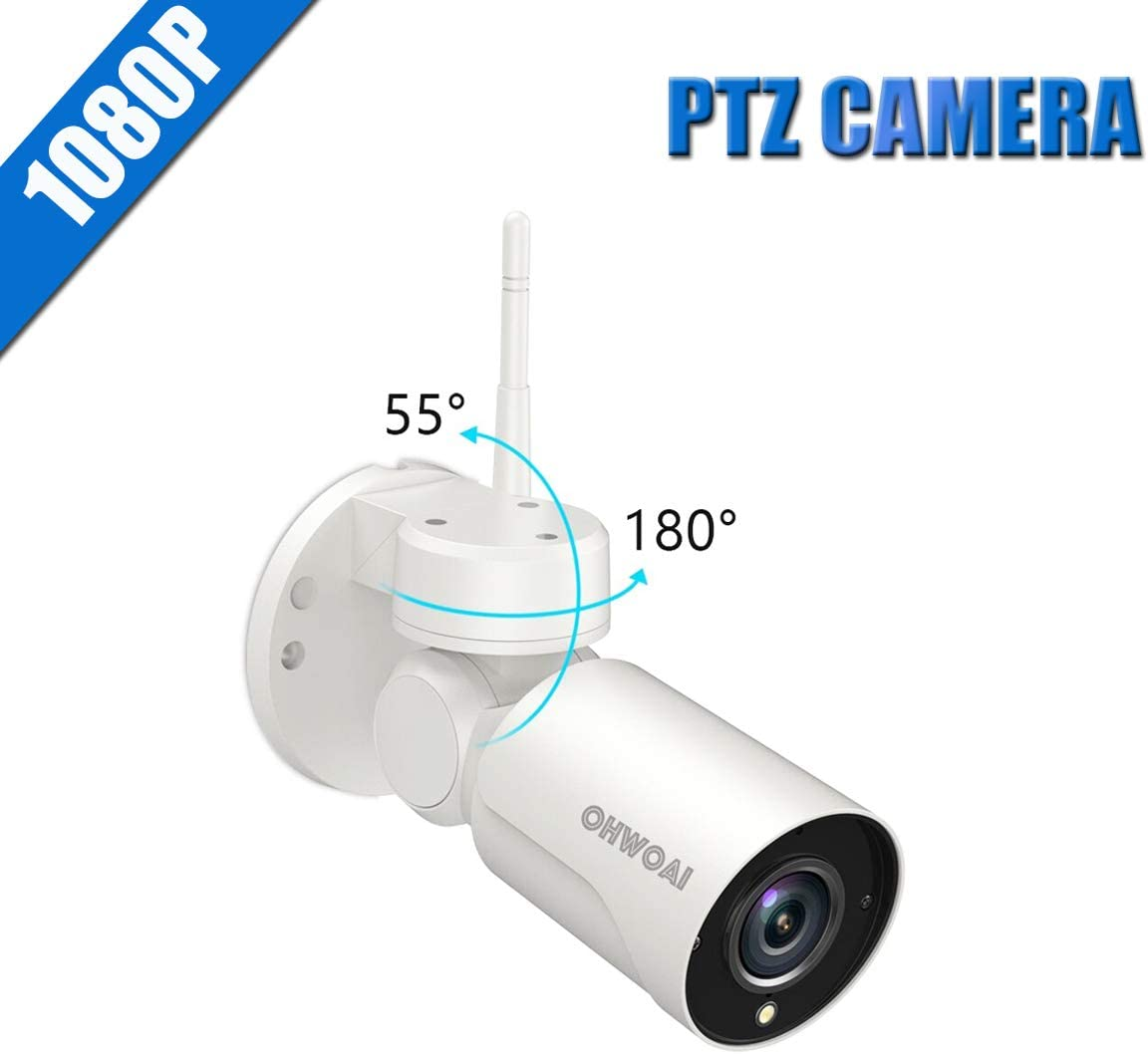 OHWOAI HD 1080P Wireless PTZ Camera,Wireless Zoom Tilt Pan Waterproof Security IP Camera,Worked for OHWOAI Wireless Security System.