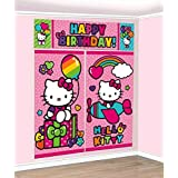 "Amscan Hello Kitty Rainbow Scene Setters Wall Decorating Kit Birthday Party Decoration (5 Pack), Multi Color, 14.6"" x 10.4""."