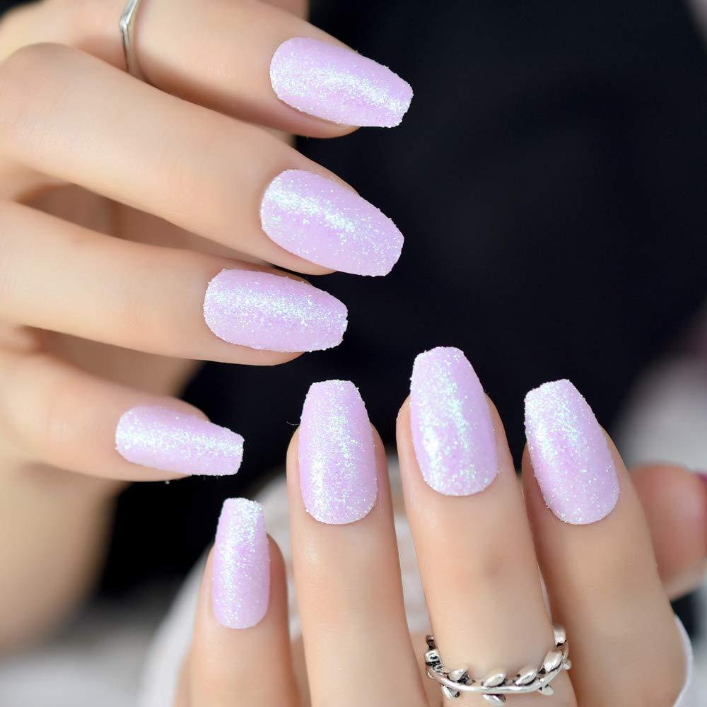 EchiQ Julio - Clavos falsos iridiscentes morados para uñas de bailarina de coffin con purpurina brillante: Amazon.es: Belleza