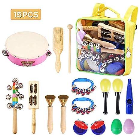 NASUM - Instrumentos Musicales para Niños, 15 Piezas de Percusión y Tambores para Infántiles,