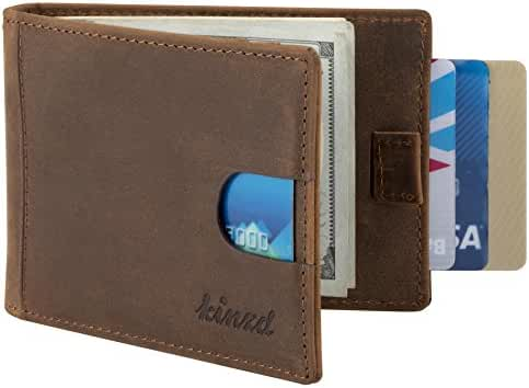 Kinzd Mens Front Pocket Wallet Bifold Leather Money Clip Wallet RFID Blocking