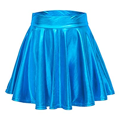 Urban CoCo Women's Shiny Flared Pleated Mini Skater Skirt