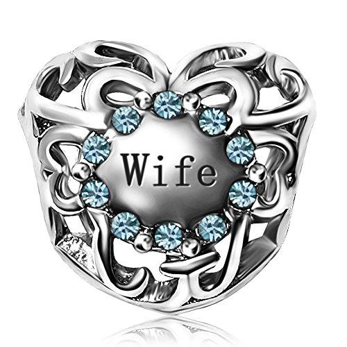 JMQJewelry Valentine's Day Heart Wife Charm Beads Birthstone March Charms For Bracelets