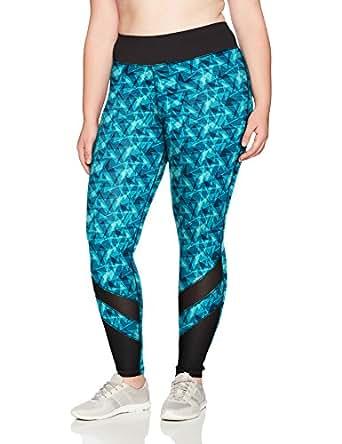 Just My Size Womens OJ907 Active Mesh Pieced Run Legging Shirt - Turquoise - 1X
