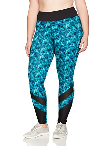 Just My Size Women's Plus Size Active Mesh Pieced Run Legging, Upbeat Teal Triangle Planes, 2X