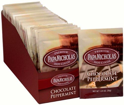 PapaNicholas Coffee 79424 Premium Hot Cocoa, Chocolate Peppermint, 24/Carton