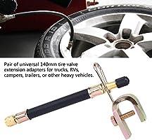 coche Extensiones de v/álvula de neum/ático de goma flexible de 140 mm 2 abrazaderas para v/álvulas de neum/áticos para cami/ón adaptador de transmisi/ón de neum/áticos rueda autob/ús