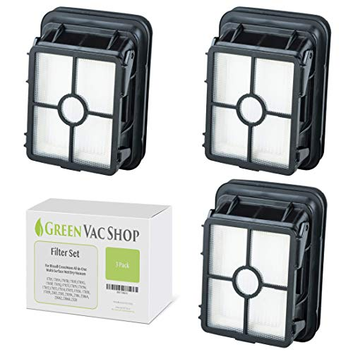 GreenVacShop 3pk Replacement Filter Set for Bissell 1866 CrossWave All-in-One 1785 17852 17853 17854 17855 17856 17858 17859 2303 2305 2306 23062 23068 2328 Vacuum, 3 HEPA Filters, Replaces # 1608684