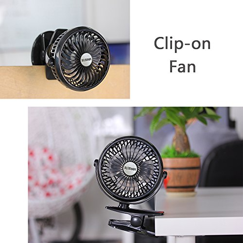 BLUBOON Clip on Fan Battery Operated Fan Portable for Baby Stroller 5'' (Two Batteries, one for Backup) by BLUBOON (Image #5)