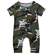 Emmababy Baby Boys Girls Jumpsuit Hoodie Romper Outfit Long Sleeve Creepers Bodysuit Clothes (0-6Months, Camo)
