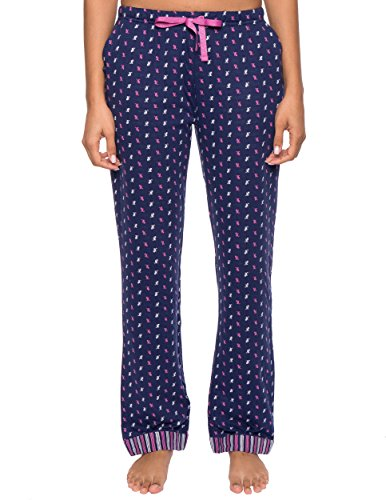 Womens Double Layer Knit Jersey Lounge Pants - Leaves Navy - (Cotton Knit Lounge Pants Loungewear)