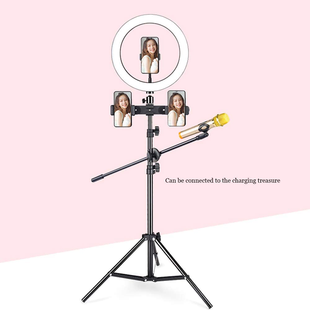 Video and Photography Compatible with iPhone Android Ringlight Flashes JION DOOST 13-inch self-Timer with Tripod and Mobile Phone Holder for Live Viewing//Makeup