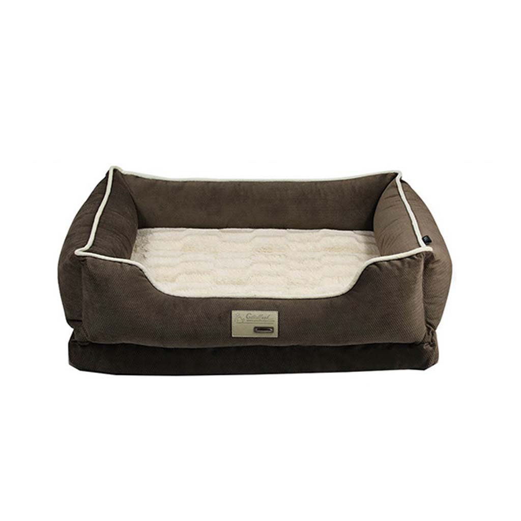 Brown2 LargeThe Dog's Bed, Plush Memory Foam Waterproof Dog Beds, Eases Pet Arthritis&Warm Pet Mattress, Washable Covers,Brown2,L