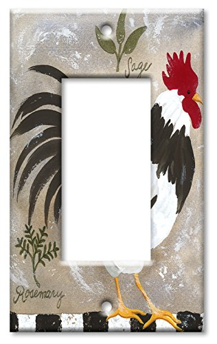 Oversize Single - Art Plates - Single Gang Rocker OVERSIZE Switch Plate/OVER SIZE Wall Plate - Jennifers Rooster