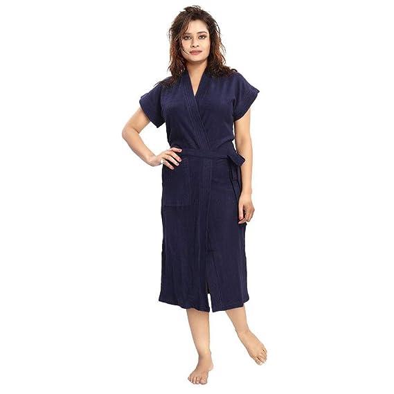 Poorak Cotton Half Sleeves Bathrobe For Women - Free Size -Blue