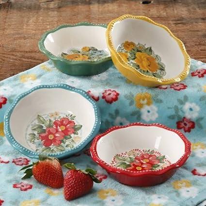 Vintage Floral Mini Pie Plate Set Set of 4 & Amazon.com | Vintage Floral Mini Pie Plate Set Set of 4: Accent Plates