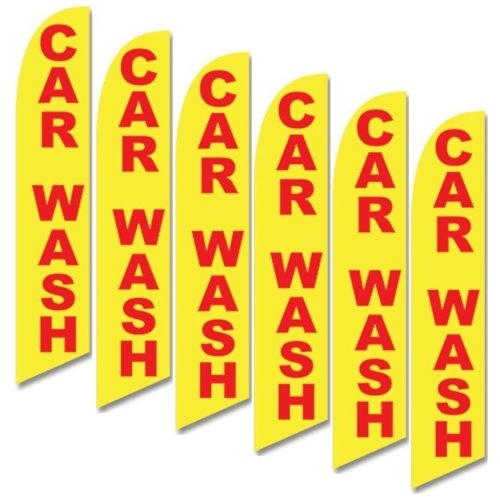 Six (6) Pack Full Sleeve Swooper Flags CAR WASH Yellow w ...