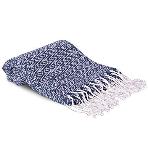 100% Turkish Premium Cotton Chevron Design Bath & Beach Towel - Luxury, Ultra Soft, Quick Dry, Absorbent Authentic Peshtemal - 37W x 70L Inches - Navy