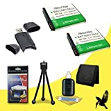 Two Halcyon 1200 mAH Lithium Ion Replacement BP-70A Battery + Memory Card Wallet + SDHC Card USB Reader + Deluxe Starter Kit for Samsung AQ100, WP10, ES80, MV800, PL20, PL90, PL100, PL120, PL170, PL200, SL50, SL600, SL605, SL630, ST60, ST65, ST66, ST80, ST90, ST95, ST100, ST700, TL105, TL110, TL205 Digital Cameras and Samsung BP-70A