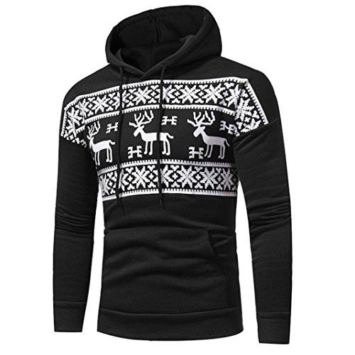Christmas Mens' Sweatshirt Autumn Winter Print Lightweight Hooded Tops Casual Jacket Coat Outwear (Black, XXL) by Sinzelimin